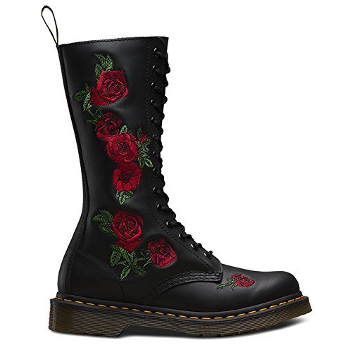 Dr. Martens Womens Vonda Black Leather Combat Roses Lace Up Mid Calf Boot - Black - 10