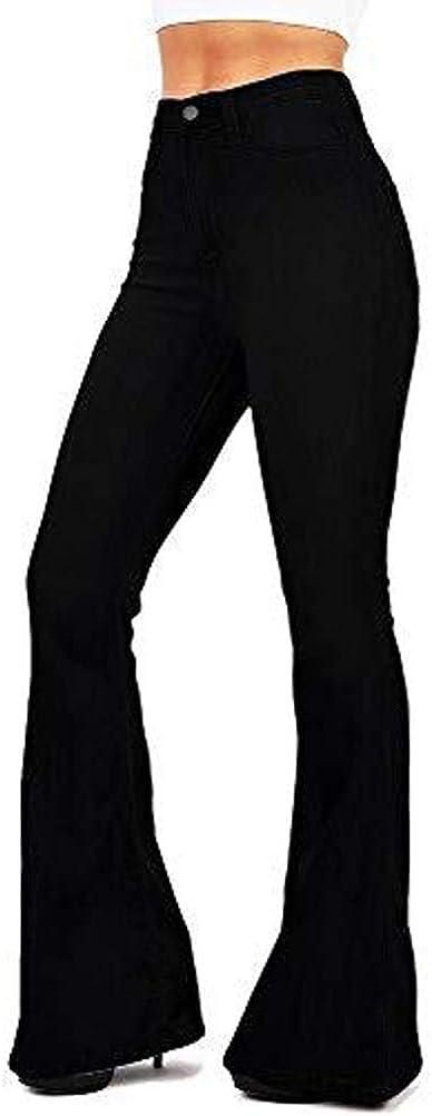 ORANDESIGNE Flare Jeans da Donna a Vita Alta Svasati Classici Push-Up Blu Pantaloni Denim Larghi
