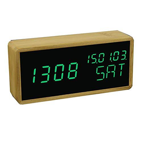 (Digital Alarm Clock Adjustable Brightness Voice Control Desk Large Display Time Temperature USB/Battery Powered)
