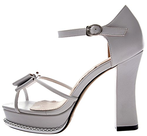 T&Mates Womens Butterfly Rivet Decorated Fashionable Platform Pumps(7 B(W) US, white)