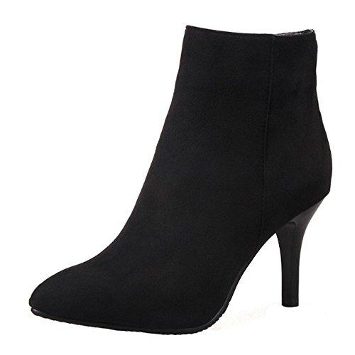 Coolcept Women's Fashion Stiletto High Heel Ankle Boots Black