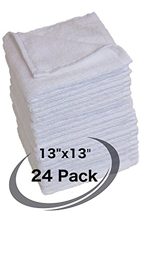 - LoomFlair Pure Cotton White Towel Set Wash Cloth (24 Pack, 13 x 13) Machine Washable Multi-Purpose Highly Absorbent Commercial Bar Towels, Bath Towels, Shop Towels and Rags - Bulk Bar Mop Set