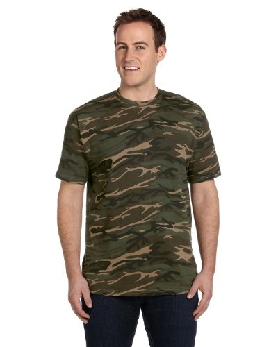 Anvil 939 Midweight Camouflage T-Shirt Camouflage Green X-Large