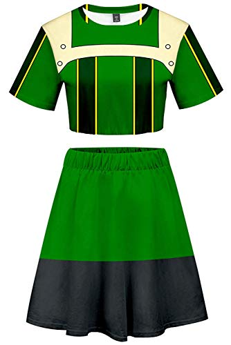 My Hero Academia School Uniform Asui Tsuyu Uraraka Bakugou Todoroki Cosplay Costume Cheerleader Cheerleading Uniform Crop Top Dress (XXL, Asui Tsuyu)