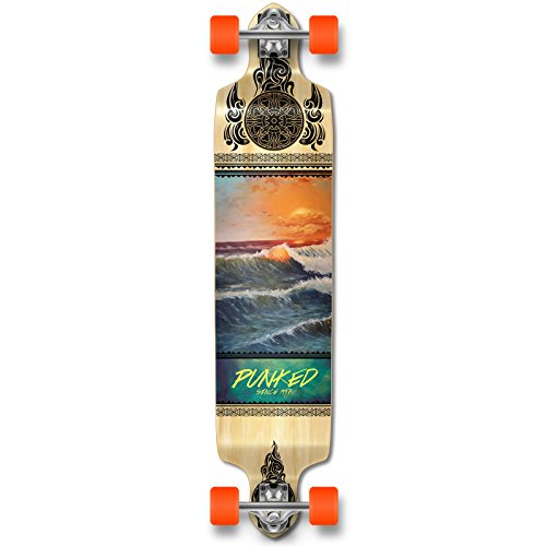 Yocaher Punked Wave Scene Longboard Complete Skateboard - Available in All Shapes (Drop Down) (Longboard Loaded Pintail)