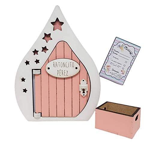 Puerta Ratoncito Pérez que se abre rosa con caja y certificado.