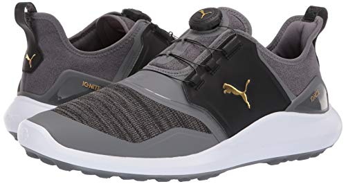 Puma Golf Men's Ignite Nxt Disc Golf Shoe Quiet Shade Team Gold-Puma Black, 11 M US