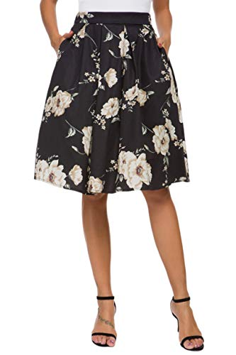 Tandisk Women's Vintage A-line Printed Pleated Flared Midi Skirt with Pockets