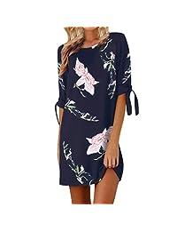 Teresamoon Deals Women's Bowknot Floral Print Beach Dress Summer Dress