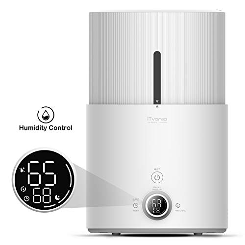 iTvanila Cool Mist Humidifier, 4.5L Ultrasonic Humidifier for Bedroom, LED Display with Humidity Monitor, 12Hrs Timer and Sleep Mode, Top Fill Humidifier with Essential Oil Diffuser Z1