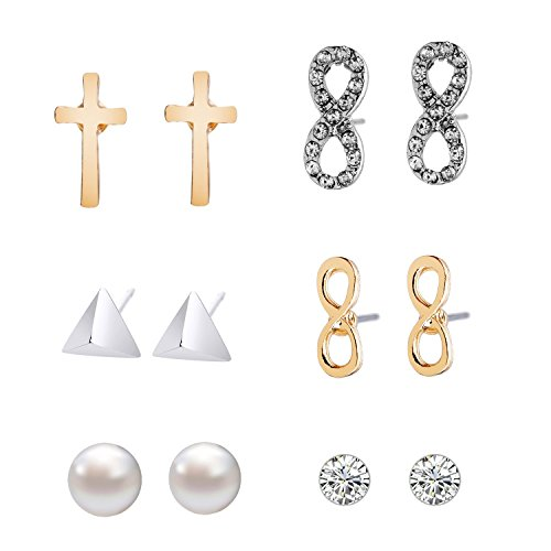 - Lureme Women Jewelry 6 Pairs Stud Earrings Set(Cross Glazed Crystal Infinity Pyramid Shell Pearl Diamond)02004569