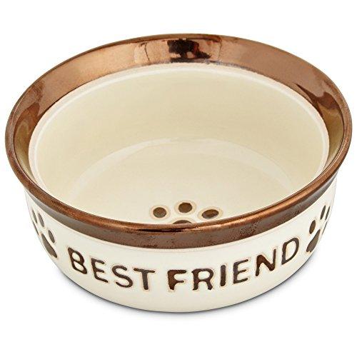 Bowl Friend Dog - Harmony Best Friend Ceramic Dog Bowl, 1.5 Cup, Medium, White / Brown