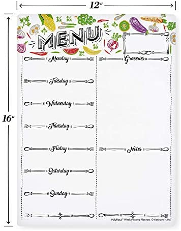 Polyrasa Write-On Dry Erase Meal Planner Refrigerator Magnetic Board | Organize Family Life with a Weekly Menu and Grocery List | Fridge Magnet with Notes for Reminders and Appointments with Marker 3