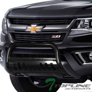 Topline Autopart Black Bull Bar Brush Push Front Bumper Grill Grille Guard With Skid Plate FRC For 15-18 Chevy Colorado ; GMC Canyon Topline_autopart