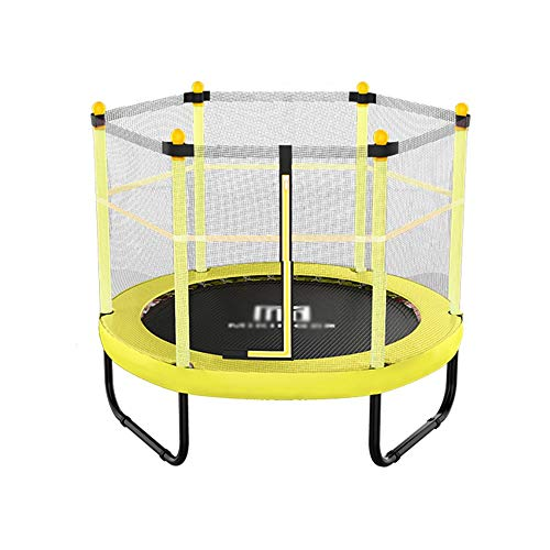 - ZYX KFXL Indoor Trampoline Trampoline - Yellow 60-inch Household Children's Trampoline for Indoor Bounce Bed with U-Shaped Foot Tube and Safety Net Fitness Trampolines
