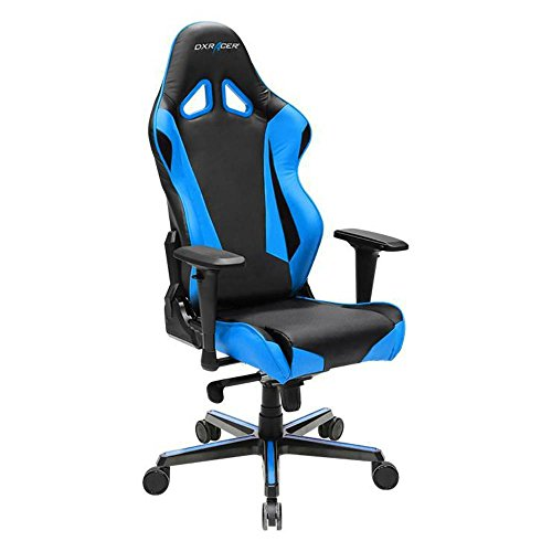 DXRacer OH/RV001/NB Black & Blue Racing Series Gaming Chair Ergonomic High Backrest Office Computer Chair Esports Chair Swivel Tilt and Recline with Headrest and Lumbar Cushion + Warranty
