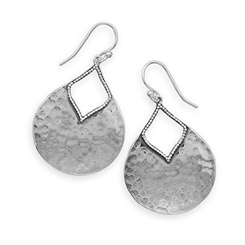 Hammered Sterling Silver Earrings Teardrop Shape with Beaded Accents Antiqued Finish