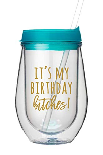 It's My Birthday Bitches, Set of 1 10oz Clear and Gold Acrylic Stemless Wine Glass a Cute Birthday Gift, Perfect for Birthday Parties and great Birthday Party ()