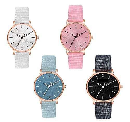 Watch City Formal Analogue Women's Watch (Multicolored Dial Black Colored Strap)
