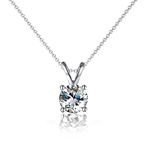 Cate & Chloe Faye Loyal Solitaire Pendant Necklace, Women's 18k White Gold Plated Necklace with Large Sparkling Solitaire Round Cut Swarovski Crystal, Silver Pendant Necklace for Women
