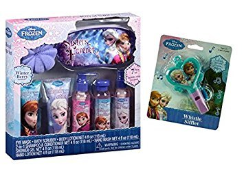 Disney Frozen Royal Spa Gift Set, 7 pc Featuring Anna & Elsa! Plus Bonus Disney Frozen Shaped Whistle by MBZ (Image #1)