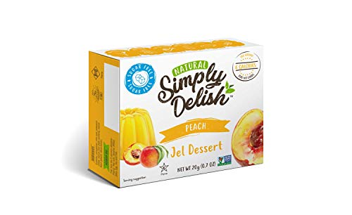 Simply Delish Natural Peach Jel Dessert - Sugar Free, Non GMO, Gluten Free, Fat Free, Lactose Free, 0.7 OZ (Pack of 6)