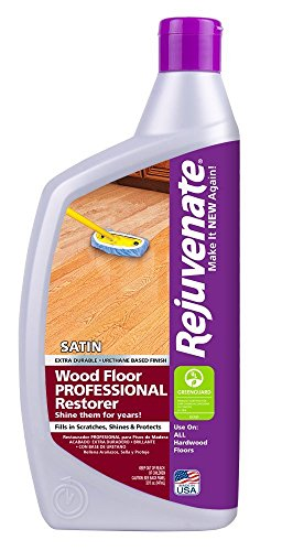 Rejuvenate Professional Wood Floor Restorer with Durable Satin Finish Non-Toxic Easy Mop On Application - 32 Ounces - Rejuvenate Hardwood Floor
