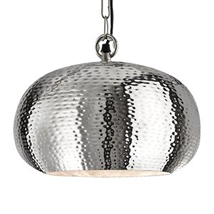 North African - Beaten Metal Shiny Nickel Large Pendant Ceiling Light -  Houseoflights