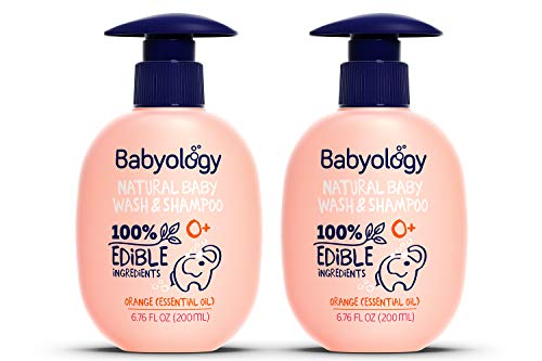 Babyology – 100% Edible Ingredients – Baby Wash & Shampoo – Organic Orange (Essential Oil) – Clinically Tested – Tear-Free – 6,67 FL. OZ – Perfect Baby Shower Gift (2 pack)