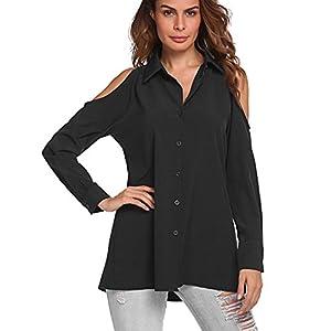 COSBEAUTY Summer Cold Shoulder Tops Women Long Sleeve Button Down Shirts Blouse