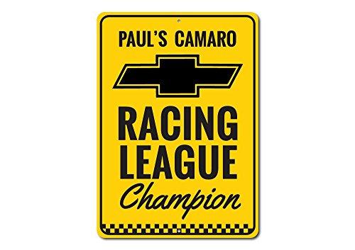 The Lizton Sign Shop Racing League Sign, Chevy Camaro Sign, Camaro Owner Gift, Custom Camaro Gift, Chevy Racing Garage Decor - Quality Aluminum Sign - (Camaro Road Racing)