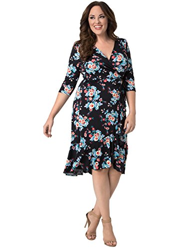 Kiyonna Women's Plus Size Flirty Flounce Wrap Dress 3X Midnight Vintage Floral