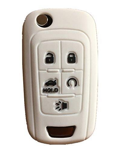 (KAWIHEN Silicone Keyless Entry Case Cover Smart Remote Key Fob Cover Protector For Chevrolet Camaro Cruze Equinox Impala Malibu Sonic OHT01060512 KR55WK50073(White))