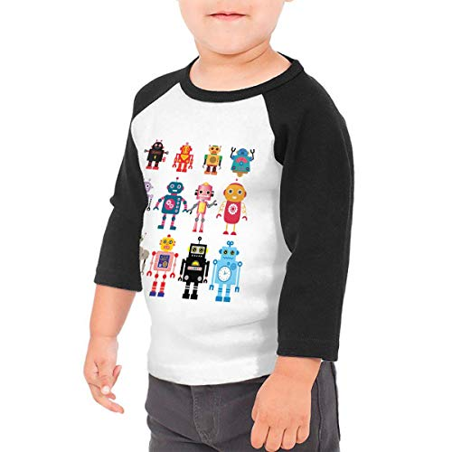 HIGASQ Unisex Baby Colorful Cute Robot Toddler's O Neck Raglan 3/4 Sleeve Baseball T Shirt for 2-6 Boys Girls Black