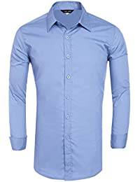 Men's Stylish Dress Shirt Long Sleeve Solid Color