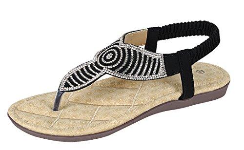 Cambridge Select Dames T-strap String Kristal Strass Glitter Stretch Slingback Plat Sandaal Zwart
