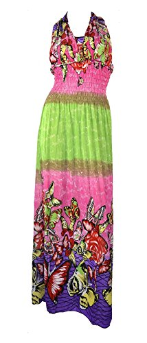 belle-donne-womens-clothing-butterfly-design-summer-maxi-dress-pink-green-l