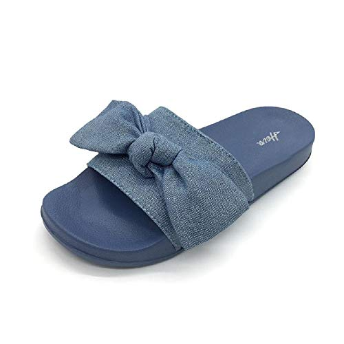4dc0b8023904 FUNKYMONKEY Women s Slides Sandals Bowknot Beach Casual Comfort Slippers (8  D(M) US