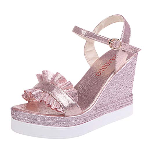 Women's Wedge Sandals Summer Buckle Strap Open Toe Platform High Heels Ankle Strap Pumps Shoes (Pink -4, US:5.0)