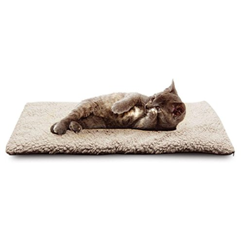 Pet Heating Pad, Self Heating Snooze Dog Cat Pet Bed Mat Thermal Washable No Electric Required Blanket (White) (Bed Mat Thermal)