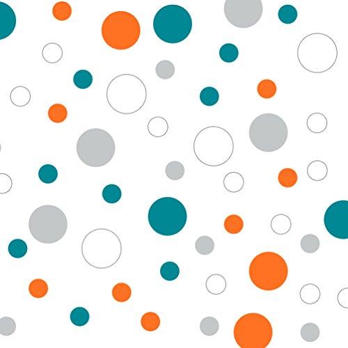 Set of 60 Circles Polka Dots Vinyl Wall Decals (Turquoise/Orange / Light Grey/White) ()
