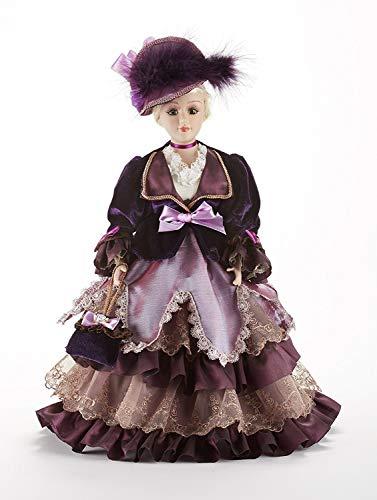 (Victorian Blonde Hair Purple Velvet Dress 14 Inch Decorative Porcelain Doll)