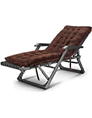 Rocking Lounger Adjustable Folding Recliner Thick Cushion Padded with Removable Headrest & Massage Armrest Portable Sun Lounger Chair Sunbed for Beach Outdoor Patio