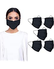 CRAFTSWORTH Reusable Cotton Face Mask for Air Pollution | 3 Layers Safety Masks with Elastic Ear Loop | Snug Fit, Washable, Breathable and Comfortable Mouth Cover (Adult (Pack Of 5), Black)