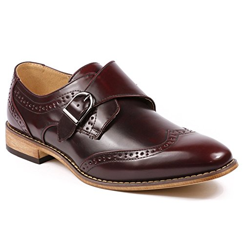31d4f1f5e63 UV Signature UV021 Men s Burgundy Monk Strap Wing Tip Perforated Slip On  Loafers Dress Shoes - Buy Online in UAE.