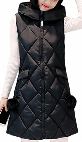 Down Fashion Full Hoodie Hot Quilted Vest Zip UK Women Puffer Long Black Brd qwXxxIv4