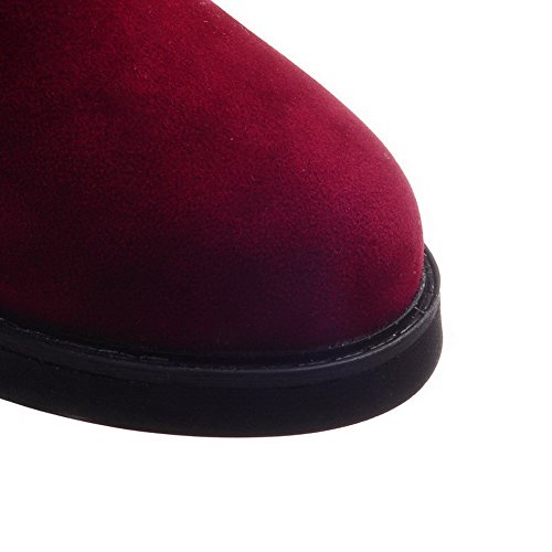 AllhqFashion Mujeres Sin cordones Tacón Medio Gamuza(Imitado) Caña Baja Botas Rojo