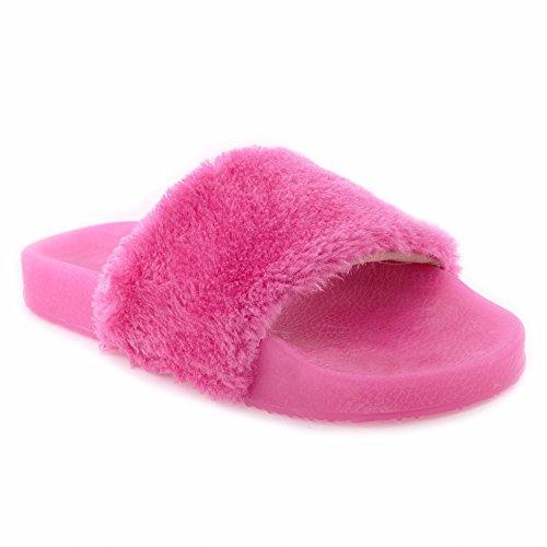 (Yoki I YOKIDS Sandals Slippers Fashion Girl's Flip Flop Fur Slide Slip Light Up Slide (2,)