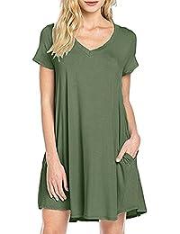 MOLERANI Women's Casual Plain Simple Pocket T-shirt Loose Dress