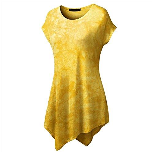 QIYUN.Z Mujeres Casquillo Casual Manga Irregular Dobladillo Túnica Vestido De Largo T-Shirts Amarillo